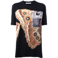 Givenchy oversized printed T-shirt (£600) ❤ liked on Polyvore featuring tops, t-shirts, black, colorful t shirts, cotton tee, oversized t shirt, short sleeve tee and loose tops
