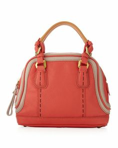 Trixie Colorblock Mini Satchel Bag, Clay/Coral by Oryany at Neiman Marcus.