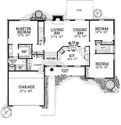 First Floor Plan of Country Ranch House Plan 90274