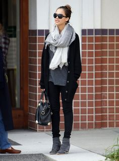 Jessica Alba - it may be her that got me started LOVING scarves. She has GREAT street style.