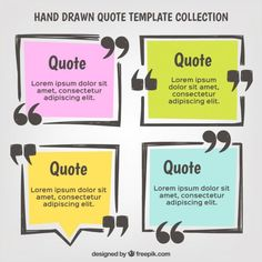 Hand drawn quote template set  Free Vector