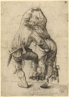 Dancing Peasant Couple (Getty Museum) Urs Graf  Swiss, 1525  Black ink  8 1/8 x 5 13/16 in.  92.GA.72