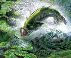 bass fishing art - Google Search