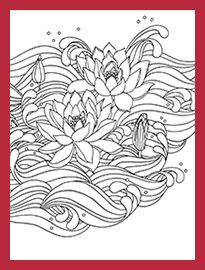 Japanese Designs Lotus Flower Abstract Doodle Zentangle Coloring