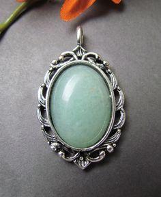 green aventurine pendant   aventurine jewelry  by mizzoktober, $26.00