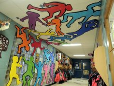 Keith Haring project for my largest class! would be a super fun project for Art Club! - could have students trace their bodies in motion on butcher paper- the cut out, paint a black outline, and we will tape up to the wall and ceiling Art Club Projects, Art Projects For Adults, Toddler Art Projects, Group Projects, Easy Projects, Collaborative Art Projects For Kids, Art Education Projects, Keith Haring Art, School Murals