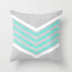 Teal+and+White+Chevron+on+Silver+Grey+Wood+Throw+Pillow+by+Tangerine-Tane+-+$20.00