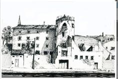 castel naudary done by artist Allan Kirk with Pitt drawing pens Drawing Sketches, Art Drawings, Canal Du Midi, House Landscape, Urban Sketching, Notre Dame, Pens, Artist, Buildings