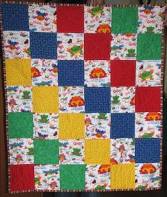 Baby Quilts Quick Easy Baby Quilt Like the colours! Quilt Baby, Baby Quilts Easy, Lap Quilts, Patchwork Quilting, Small Quilts, Baby Quilts For Boys, Quilting Board, Amish Quilts, Hand Quilting