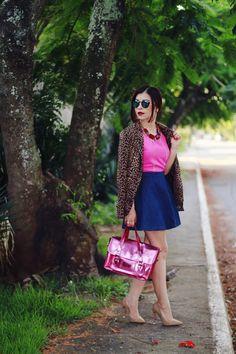 Blog da Lê-Moda e Estílo: Look - Pink, jeans e animal print