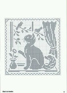 ru / Foto # 26 - Point de croix Collector Avril-Mai 2009 - natalytretyak Plus Cute Cat & Birds Cross Stitch or Filet Crochet Pattern cross stitch cat in window, köttur í glugga Perhaps this is a filet crochet pattern but I suppose should be same in cros Filet Crochet Charts, Knitting Charts, Cross Stitch Charts, Cross Stitch Designs, Cross Stitch Patterns, Chat Crochet, Crochet Cross, Thread Crochet, Crochet Granny