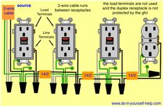 wiring diagram for a row of receptacles multiple receptacles rh pinterest com Wiring Multiple Outlets in Parallel gfci wiring diagram multiple outlets