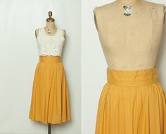 vintage 1980s mustard high waist skirt by StopTheClock on Etsy