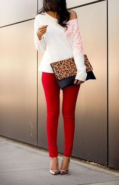 A white crew-neck sweater and red slim jeans are a great outfit formula to have in your arsenal. Elevate your getup with silver leather pumps. Shop this look on Lookastic: https://lookastic.com/women/looks/white-crew-neck-sweater-red-skinny-jeans-silver-pumps-tan-clutch/8597 — White Crew-neck Sweater — Tan Leopard Leather Clutch — Red Skinny Jeans — Silver Leather Pumps