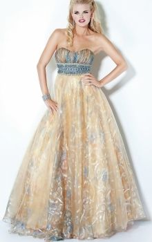 Champagne A-Line/Princess Strapless Empire Long/Floor-length Sleeveless Tulle Zipper Up Prom Dresses Dress