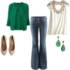cute outfit, especially the green sweater w/ top (i would probs not wear those earrings with the outfit though)
