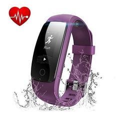 Fitness Tracker with Heart Rate Monitor Runme Activity Tracker Smart Watch with Sleep Monitor Waterproof Walking Pedometer Band with Call/SMS Remind for iOS/Android Smartphone (Purple)
