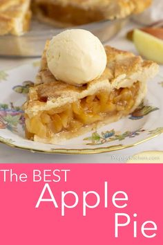 This easy to make and delicious apple pie from Preppy Kitchen is bursting with fresh flavor and held together in a crisp homemade butter crust. You'll be head over heals in love and dreaming up reasons to bake it again before the last bite is finished! Baked Apple Dessert, Apple Dessert Recipes, Köstliche Desserts, Apple Recipes, Purple Desserts, Fresh Apple Pie Recipe, Homemade Apple Pie Filling, Homemade Butter, Perfect Apple Pie