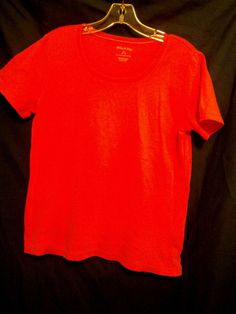 White Stag Coral Scoop Neck Top Size M Short Sleeve 100% Cotton #WhiteStag #KnitTop #Career