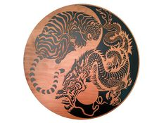 Chinese Dragon & Tiger Yin Yang Wall Art OR Lazy by eyegrinddesign