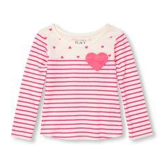 Toddler Girls Long Sleeve Heart Pocket Stripe And Heart Split-Print Top