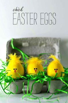 Chick Easter Eggs: These little chicks might be the cutest Easter egg idea we've ever seen. Click through to discover more DIY decorating ideas for your Easter eggs.