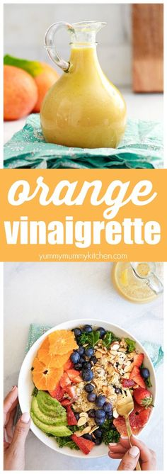 This easy orange citrus vinaigrette is made in the blender and is so delicious on green salads like this superfood kale salad with berries and quinoa. This is one of my favorite vegan, vegetarian, gluten-free lunch ideas! Vinaigrette Salad Dressing, Citrus Vinaigrette, Salad Dressing Recipes, Salad Recipes, Healthy Recipes, Superfood Salad, Kale Salad, Soup And Salad, Pasta Salad