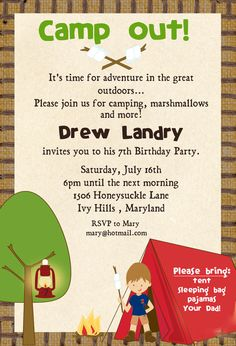 camping birthday for seanny one day...