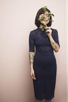 C.L.E.A.N. Dress Blue Striped Mesh via christina ledang. Click on the image to see more!