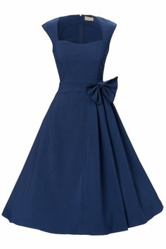 Lindy Bop Grace Midnight Blue Bow vintage style swing party rockabilly evening dress € This is the perfect dress for our ceremony, but with a yellow bow 50s Dresses, Vintage Dresses, Evening Dresses, Vintage Outfits, Pretty Outfits, Pretty Dresses, Beautiful Outfits, Swing Dress, Dress Skirt