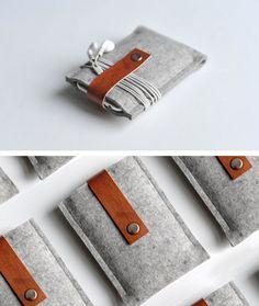 Grey Wool Felt & Brown Leather Cases by Byrd & Belle