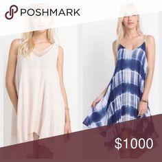 Reserved for @drcohen Debbie 1 Blush mesh lace shift dress 39 1 Navy & White Tie Dye Dress 35   Both Size Large   Total 74 Dresses