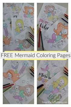Download a set of free printable mermaid coloring pages that the kids are going to love. These cute designs are perfect for using at mermaid parties or as a simple but fun activity for kids.The PDF is easy and quick to download so the kids will be happily coloring in just a few minutes. Diy Party Decorations, Party Themes, Party Ideas, Easy Crafts, Crafts For Kids, Mermaid Coloring Pages, Mermaid Parties, Girl Themes, 3 Kids