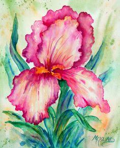 Watercolor Pink Iris by Colorado Artist Martha Kisling