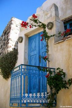 Blue Door in Pyrgos, Santorini