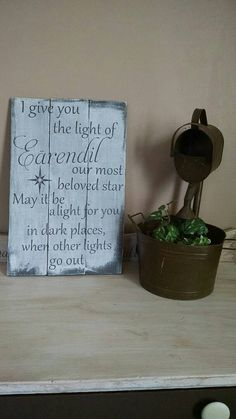 Lord of the Rings sign - cosplay wood sign - wood wall art - hobbit art - Light of Earendil - rustic decor - Tolkien art - LOTR sign