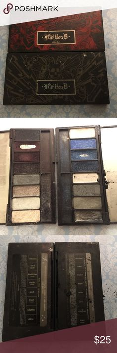 2 Limited Edition Kat Von D eyeshadow palettes Well loved. Metal Orchestra and Love and Fury Kat Von D Makeup Eyeshadow