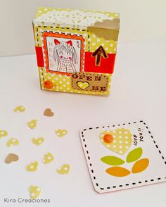 Kira creaciones: Caja sorpresa Para Retos de Scrap (Amarillo y naranja)