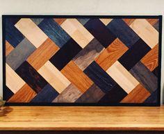Rustic Reclaimed Laminate Wood Wall Hanging, Herring Bone Pattern, Geometric Art by TheLittleWoodshoppe on Etsy