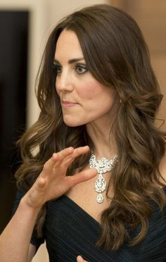 Kate Middleton National Portrait Gallery: Duchess of Cambridge dazzles in diamond necklace borrowed from the Queen #katemiddleton