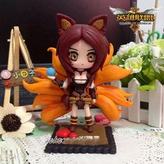 league of legends lol handmade polymer clay ahri action figure