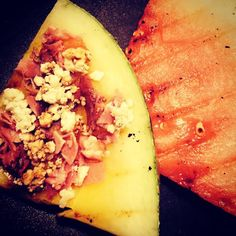 grilled watermelon with gorgonzola and prosciutto