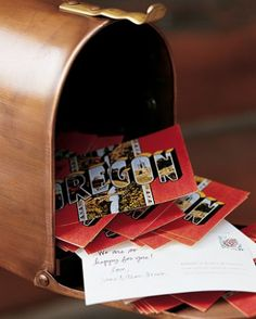mailbox/postcard guest book idea! rustic and fun! Could have pictures of J+S engagement session on postcards or have them match stationary