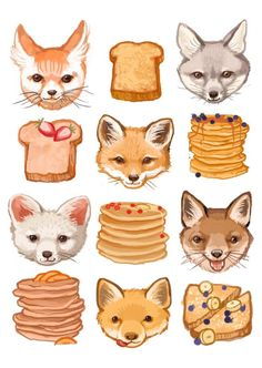 Fine Art Print  Foxes French Toast and Flapjacks by kathrynselbert