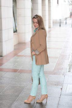 pants - Orsay / belt - C / blouse - Vero Moda / blazer - Zara / bag - Furla / shoes - Goertz / watch - Burberry / earrings - Swarovski / bracelet - J. Swarovski Bracelet, Zara Bags, Furla, Burberry, Duster Coat, Pastel, Belt, Engagement Rings, Blazer