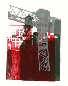 Landscape design architecture and new construction. - Gray construction crane and water-towers in New York City - - giclee fine art print, from her original mono-type collage, for sale; by Dutch graphic woman artist Hilly van Eerten Urban Landscape, Landscape Art, Urbane Kunst, A Level Art, Dutch Artists, Environmental Art, Gravure, Collage Art, City Collage