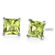 Women's 14k Gold Princess Cut Peridot Stud Earrings  | eBay