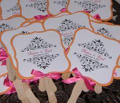 Orange and Pink wedding fans