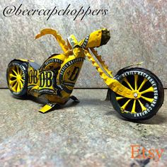 Devils Backbone Beer Cap Chopper Motorcycle by Craftcapcreations