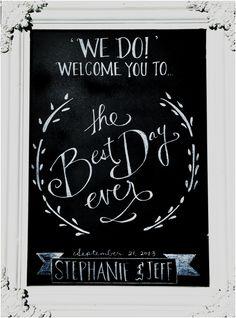 Hand lettered -- Wedding chalkboard signage on World Market chalkboard. Vintage Chalkboard, Chalkboard Wedding, Chalkboard Signs, Wedding Chalkboards, Chalkboard Ideas, Lodge Wedding, Rustic Wedding, Dream Wedding, Wedding Day